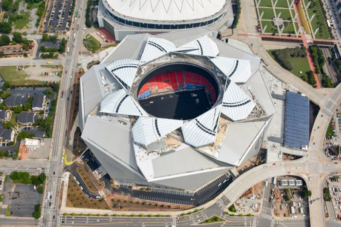 Mercedes-Benz Stadium retractable roof stadium in Atlanta, Georgia